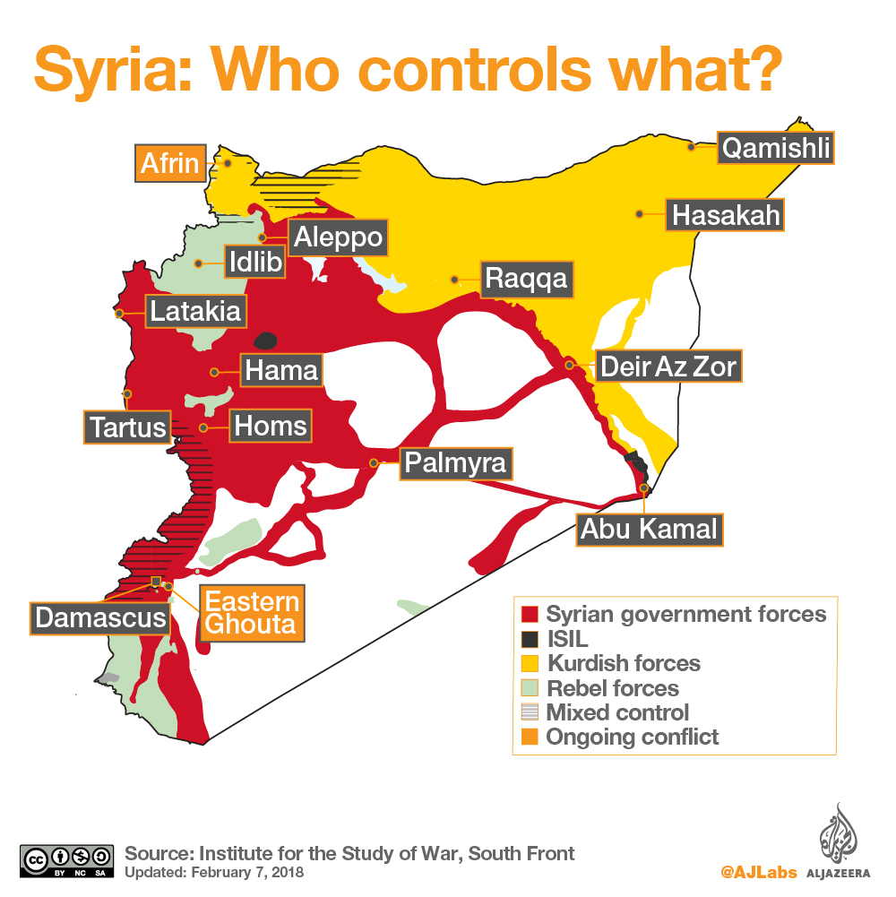 maps of siria by Al Jazeera