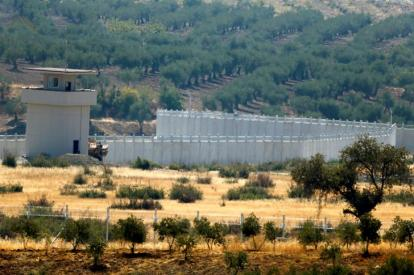 A wall along the border between Turkey and Syria is pictured near the southeastern town of Deliosman in Kilis province