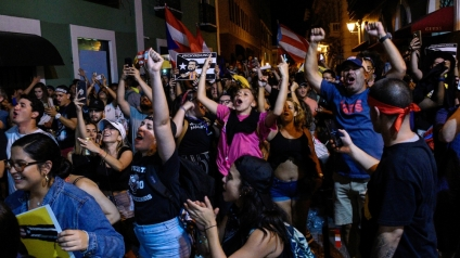 Demonstrators celebrate after the resignation of Puerto Rico Governor Ricardo Rossello_Gabriella N. Baez_Reuters