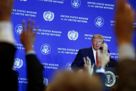 U.S. President Donald Trump takes questions during a news conference on the sidelines of the 74th session of the United Nations General Assembly (UNGA) in New York City, New York, U.S., September 25, 2019. REUTERS/Jonathan Ernst