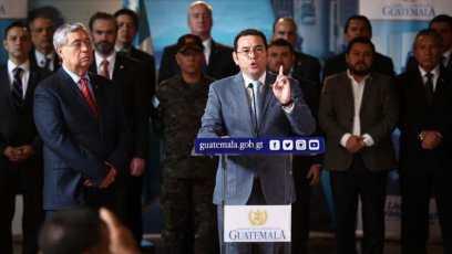 Jimmy Morales e il Gabinetto appaiono davanti ai media per formalizzare lo status di Sitio_Foto di stampa libera_Carlos Hernández
