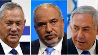 Benny Gantz_Avigdor Lieberman e Benjamin Netanyahu sono i principali attori nella formazione di un governo_Ronen Zvulun, Nir Elias_ Amir Cohen _Reuters