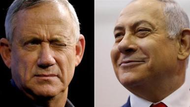 Benny Gantz _il leader dell'alleanza blu e bianca_e il primo ministro israeliano Benjamin Netanyahu _Amir Cohen _ Reuters