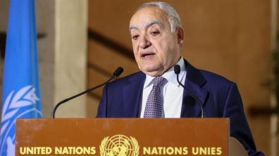 Ghassan Salame_ inviato delle Nazioni Unite per la Libia_ tiene un briefing informativo sulla scia dei colloqui militari mediatici delle Nazioni Unite a Ginevra _Denis Balibouse _ Reuters
