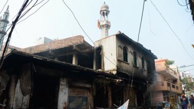 La moschea è stata incendiata nella capitale indiana martedì da mob indù _Sajjad Hussain _ AFP