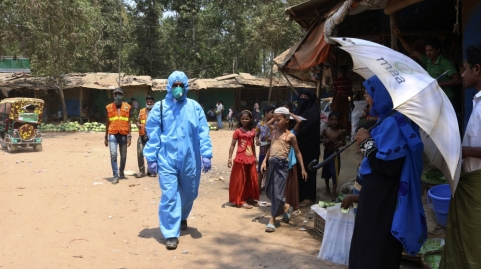 campo profughi di Kutupalong Rohingya a Cox's Bazar. Quattro casi di coronavirus sono stati confermati nei campi _Shafiqur Rahman _ AP Photo