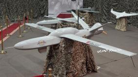 Aerei drone in mostra in una posizione non identificata_ Houthi Media Office_Handout via Reuters